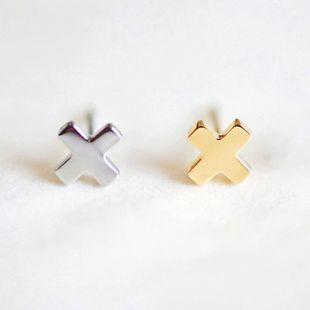 stainless steel fashion earrings Korean cross earrings simple earrings wholesale nihaojewelry NHTF222247's discount tags