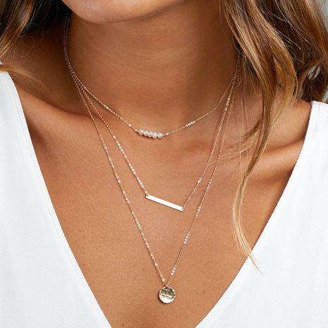 Nuevos productos apilados collar de acero inoxidable de múltiples capas damas collar de perlas accesorios al por mayor nihaojewelry NHTF222265's discount tags