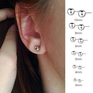 stainless steel earrings fashion round bead earrings simple peas earrings wholesale nihaojewelry NHTF222270's discount tags