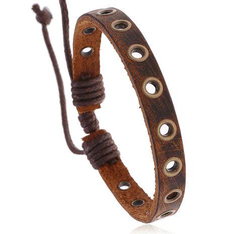 jewelry wholesale vintage brown steam eye cowhide bracelet men woven leather bracelet wholesale nihaojewelry NHPK222271's discount tags