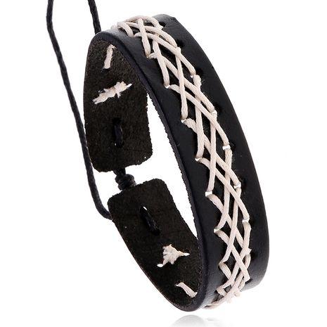 hot selling vintage woven cowhide bracelet tide fashion accessories nightclub hip-hop accessories wholesale nihaojewelry NHPK222272's discount tags