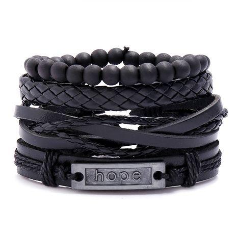 Nouveaux bijoux rétro tissé bracelet en peau de vache bricolage combinaison costume bijoux en cuir en gros nihaojewelry NHPK222277's discount tags