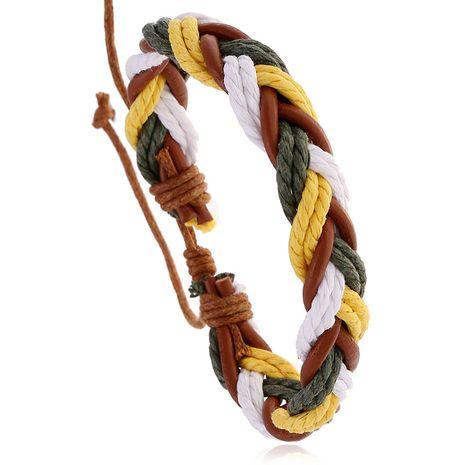 new retro woven cowhide bracelet bracelet simple multi-layer hundred accessories wholesale nihaojewelry NHPK222278's discount tags