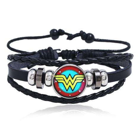 Luminous gem Marvel series leather bracelet Iron Man Spider-Man student bracelet personality jewelry DIY medal buckle wholesale nihaojewelry NHPK222279's discount tags