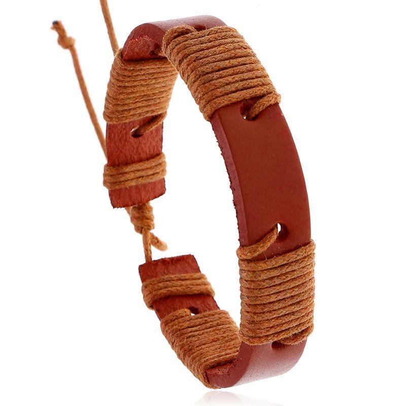Punk jewelry new retro woven cowhide bracelet simple leather bracelet hot accessories wholesale nihaojewelry NHPK222280