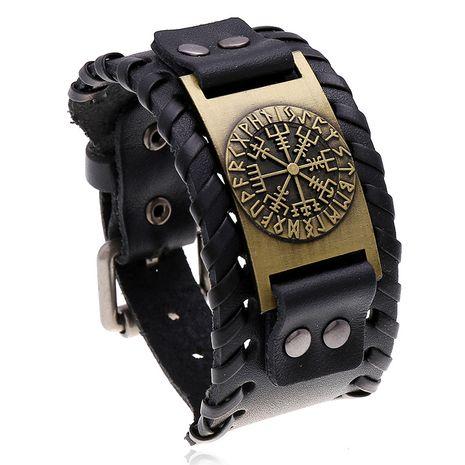 Venta caliente pulsera de cuero retro brújula tejida pulsera de cuero de los hombres al por mayor nihaojewelry NHPK222281's discount tags