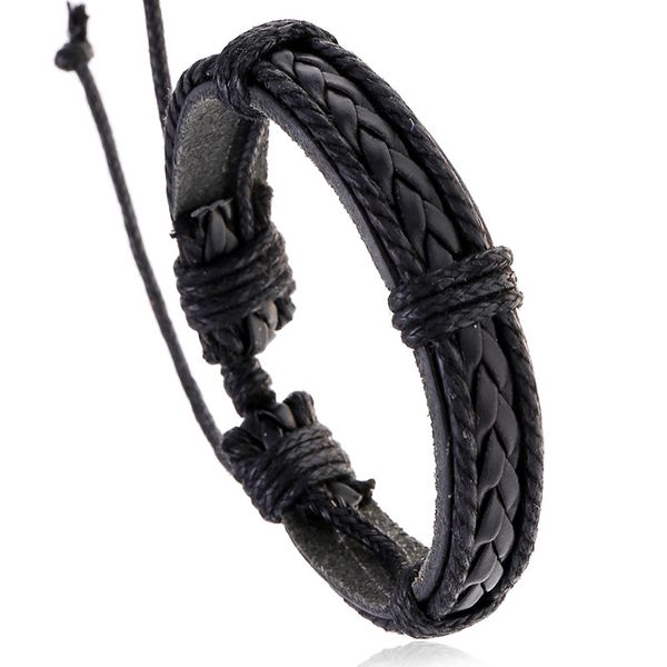 fashion jewelry vintage cowhide bracelet men woven leather bracelet wholesale nihaojewelry NHPK222286