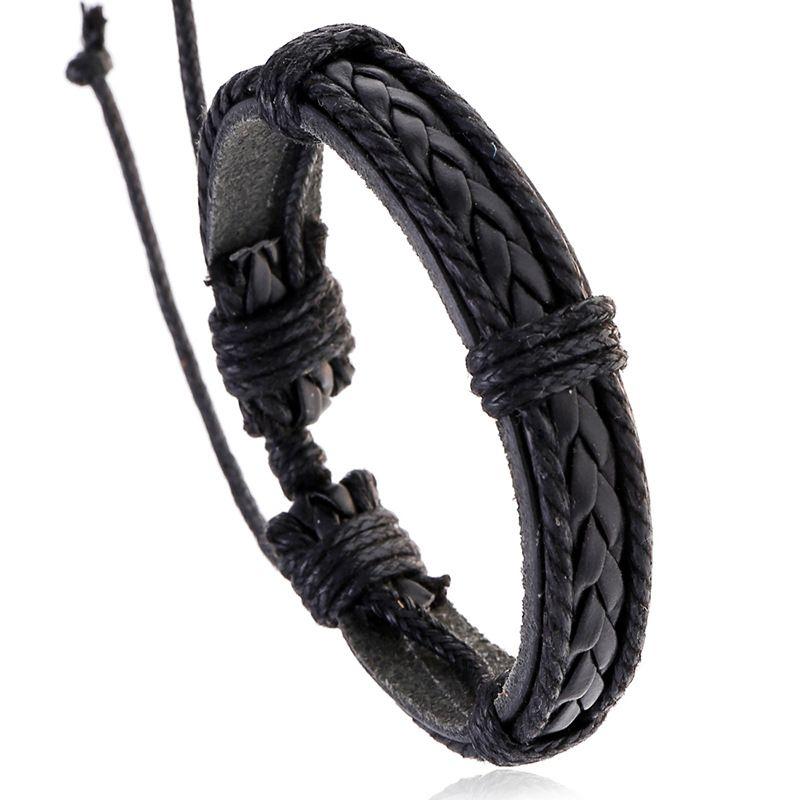 fashion jewelry vintage cowhide bracelet men woven leather bracelet wholesale nihaojewelry NHPK222286