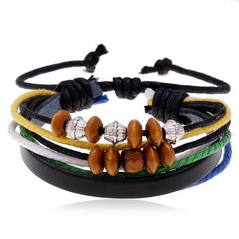 Hot Sell Beaded Leather Bracelet Hand Woven Multilayer Hemp Rope Wooden Bead Bracelet wholesale nihaojewelry NHPK222287's discount tags