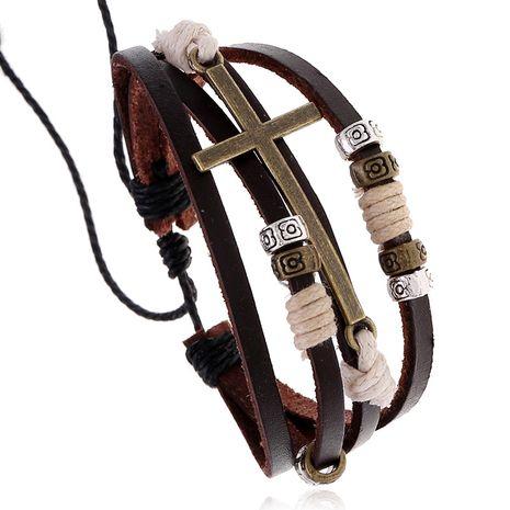 Hot Sale Beaded Leather Bracelet Retro Woven Bronze Cross Bracelet wholesale nihaojewelry NHPK222288's discount tags