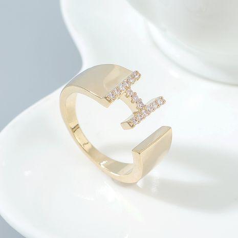 Anneau en zircon de qualité AAA anneaux en forme de H femmes en gros NHPS222627's discount tags