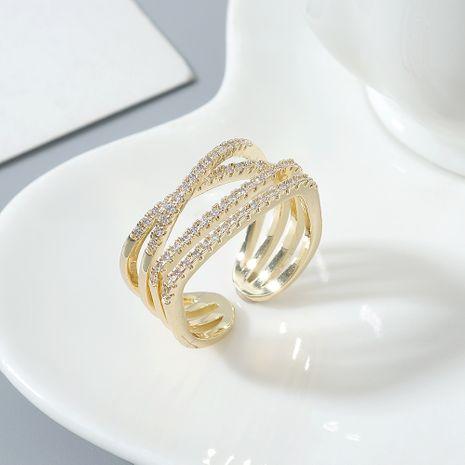 Anneau de zircon AAA gros anneaux croisés en zircon pour femmes NHPS222639's discount tags