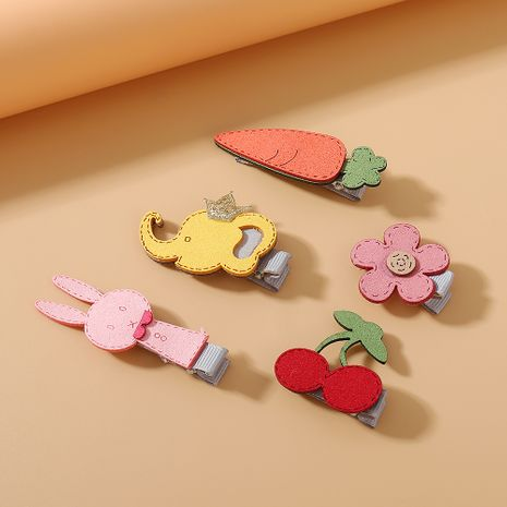 simple rabbit flower hair clips set small fresh sweet crown baby elephant hairpin set NHPS222651's discount tags