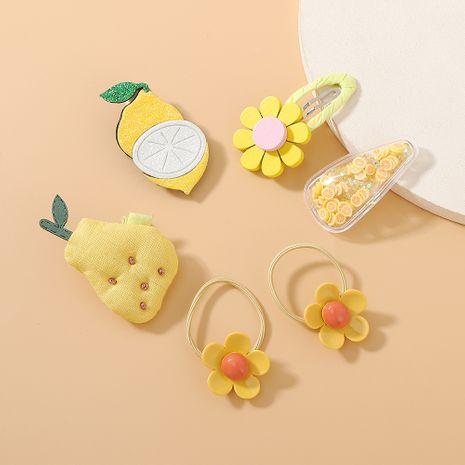 sweet fruit hair scrunchies hair clips set cute simple mango hair band hair clip set NHPS222657's discount tags