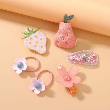 sweet fruit hair scrunchies hair clips set cute little fairy wild simple small fresh strawberry hair band hair clip set NHPS222658's discount tags