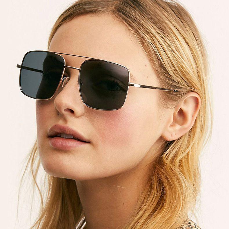 Double beam metal square sunglasses  retro  new men and women wild  sunglasses UV protection  glasses nihaojewelry wholesale NHKD222804