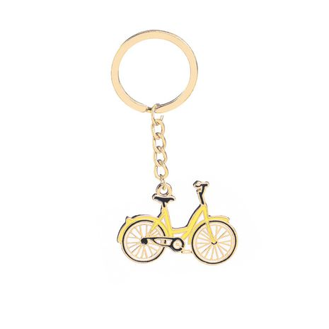 fashion simple new keychain  personality cartoon creative bicycle small yellow car alloy drop oil keychain nihaojewelry wholesale NHMO222840's discount tags