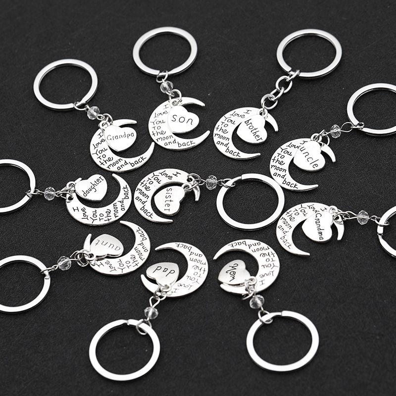 fashion simple Valentine's Day gift love moon I love you key chain nihaojewelry wholesale NHMO222853