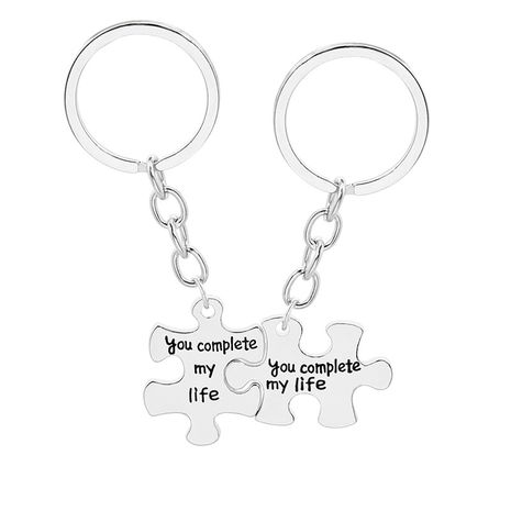 fashion simple  creative wild lettering splicing you complete my life couple keychain nihaojewelry wholesale NHMO222865's discount tags