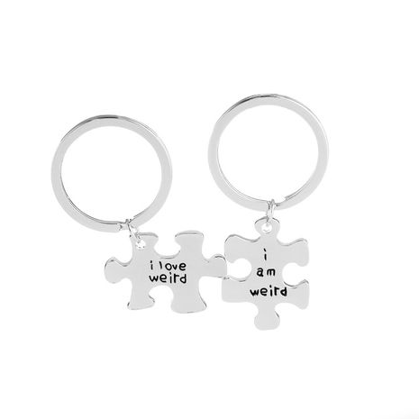 fashion simple new  stitching lettering I love weird i am weird puzzle lettering keychain pendant nihaojewelry wholesale NHMO222870's discount tags