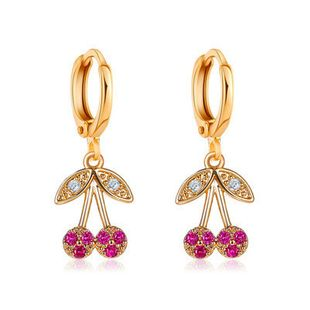 New fashion cute  cherry earrings personality diamond small fresh fruit  copper earrings nihaojewelry wholesale NHMO222878's discount tags
