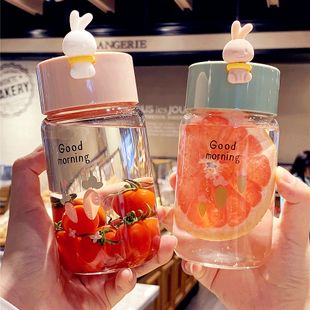 Creative fresh forest bunny glass female student portable cute water cup nihaojewelry wholesale NHtn222882's discount tags