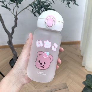 Cartoon cute bear printed glass water cup portable bullet cover sippy cup student drinking water anti-choking silicone sippy cup NHtn222884's discount tags