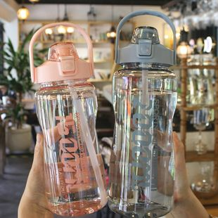 Solid color large capacity portable handle sports cup English printing simple  fitness with scale plastic cup  nihaojewelry wholesale NHtn222886's discount tags