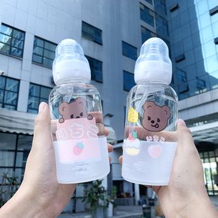 Mori pacifier glass bottle baby girl heart cute bear printed water cup female student  portable water cup nihaojewelry wholesale NHtn222892's discount tags