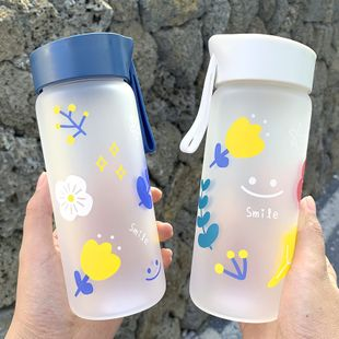 Simple cartoon girl heart printed glass water cup portable cup with high borosilicate heat-resistant glass water cup NHtn222894's discount tags