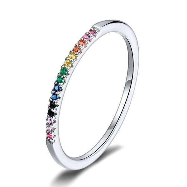 New s925 sterling silver ring  fashion white gold plated simple colorful zircon silver ring for women wholesale NHKL222905