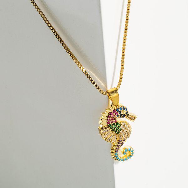 fashion new trend  copper inlaid color zircon sea horse pendant  necklace nihaojewelry wholesale NHLN222912