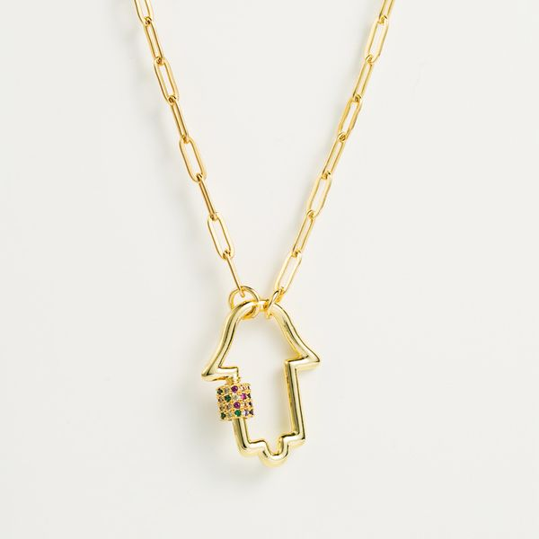 fashion new chain hip-hop punk style palm pendant copper micro-inlay female necklace  nihaojewelry wholesale NHLN222915