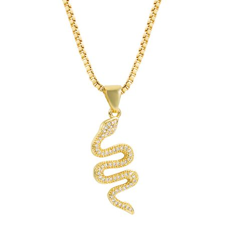 Vente chaude nouvelle mode créative serpentine pendentif collier personnalité punk style incrusté zircon collier nihaojewelry en gros NHLN222916's discount tags