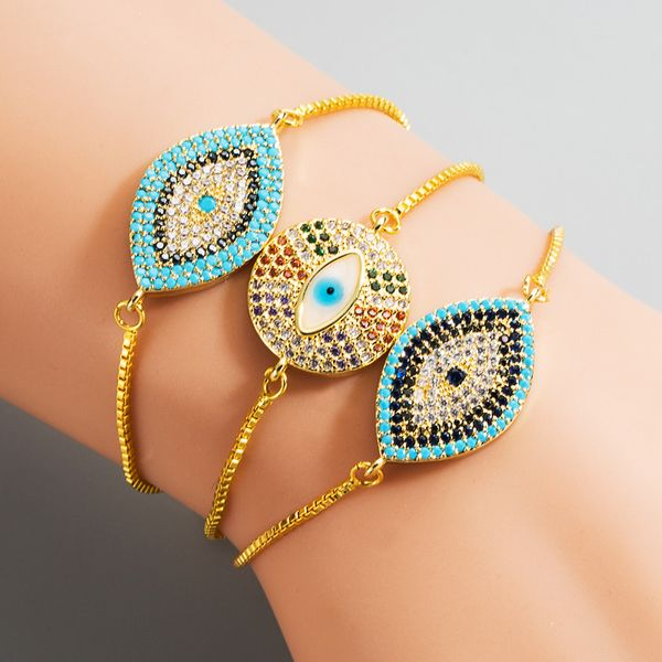 fashion new eye-pulling bracelet  brass micro-set color zircon bracelet nihaojewelry wholesale NHLN222929