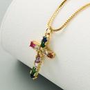 new  fashion pendant brass microset color zircon necklace nihaojewelry wholesale NHLN222931