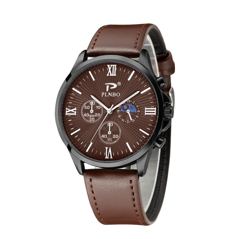 Fashion Three Eyes Roman Scale Men's Belt Watch Large Dial Black Shell Quartz Men's Sports Watch nihaojewelry wholesale NHSS222673