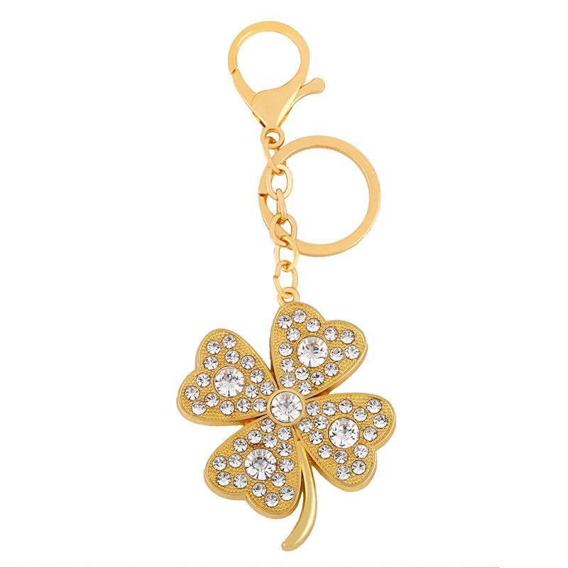 fashion new simple  cross-border new accessories diamond clover metal keychain bag zircon keychain nihaojewelry wholesale NHAS222703