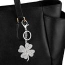 fashion new simple  crossborder new accessories diamond clover metal keychain bag zircon keychain nihaojewelry wholesale NHAS222703