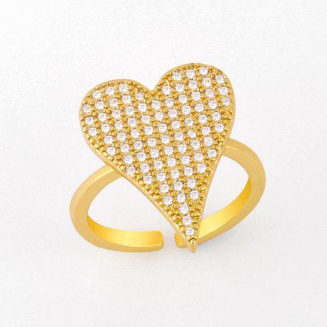 mode simple nouvelle bague en diamant personnalisé amour coeur de pêche ouvert anneau de cuivre nihaojewelry en gros NHAS222707's discount tags