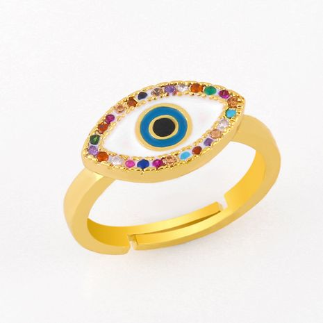 fashion new devil's eye ring open ring  inlaid color diamond drop oil copper  open ring  nihaojewelry wholesale NHAS222708's discount tags