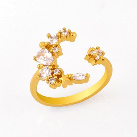 mode nouveau simple bohème anneau design créatif cuivre lune étoile anneau micro-ensemble zircon anneau nihaojewelry en gros NHAS222711's discount tags