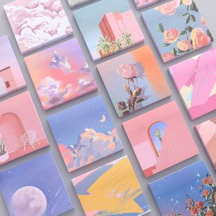 Girl oil painting post-it color N times stickers beautiful landscape student hand account decoration message note note paper NHZE222726's discount tags