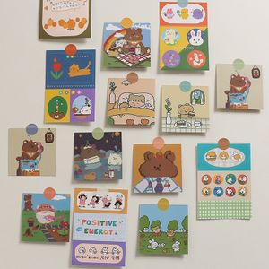 korean  cute little bear girl double-sided small card set wall decoration student room background photo wall sticker nihaojewelry wholesale NHZE222728