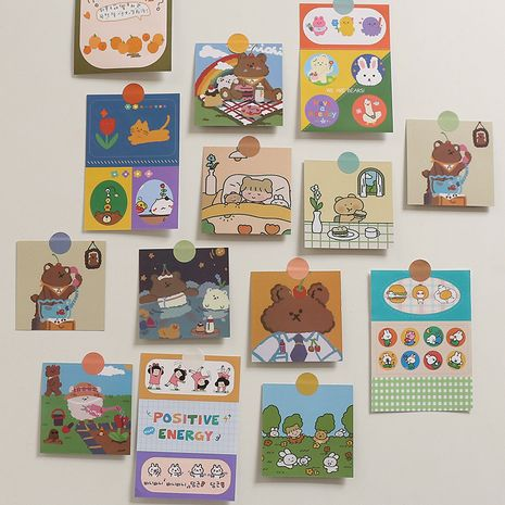 korean  cute little bear girl double-sided small card set wall decoration student room background photo wall sticker nihaojewelry wholesale NHZE222728's discount tags