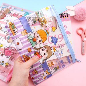Cute cartoon grid pen bag A4A5 large-capacity transparent file bag girl heart stationery storage nihaojewelry wholesale NHHE222738
