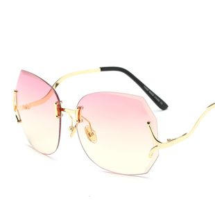 mode simple sans cadre diamant garnis lunettes de soleil mode dame lunettes de soleil à jambe courbée nihaojewelry gros NHFY222755's discount tags