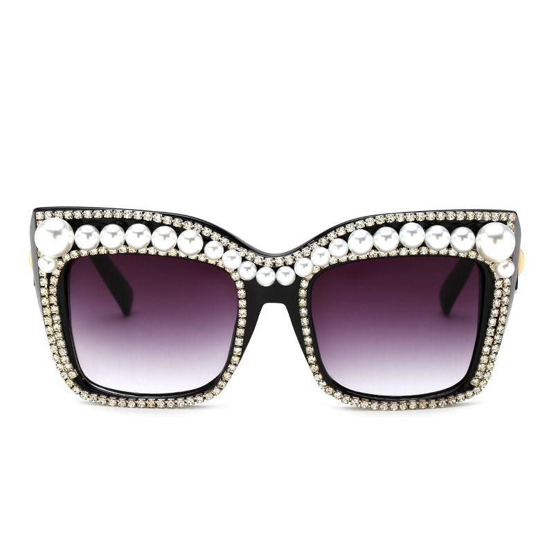 New  fashion Pearl Rhinestone Sunglasses Fashion Box Sunglasses Women Sunglasses nihaojewelry wholesale NHFY222756