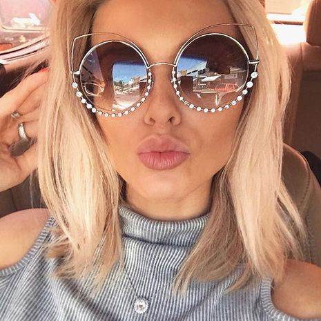 fashion new simple  metal sunglasses women luxury diamond round frame sunglasses  wholesale NHFY222759's discount tags