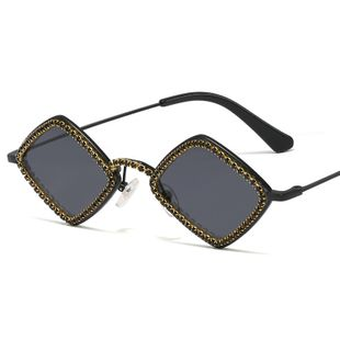 fashion new simple Luxury Diamond Ocean Film Sunglasses Lady Personality Street Shot Four Square Sunglasses nihaojewelry wholesale NHFY222773's discount tags